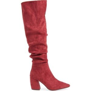 Jeffrey Campbell Wine Red Slouch OTK Boots Size 8